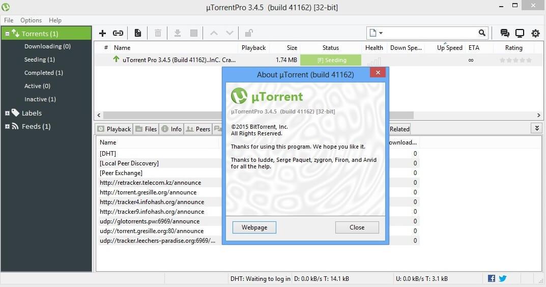 Интерфейс uTorrent - рис.1