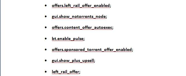 Команды для отключения рекламы в BitTorrent