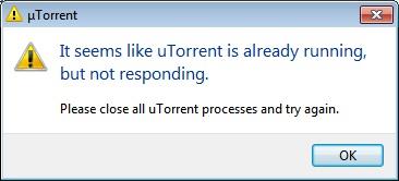 """Исправление ошибки """"It seems like uTorrent is already running"""""""